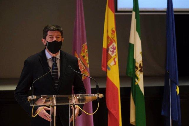 Juan Marín durante su intervención en la Diputación de Córdoba. (Foto de archivo).