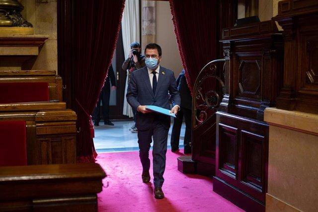 El vicepresidente de la Generalitat, Pere Aragonès, esta semana en el Parlament