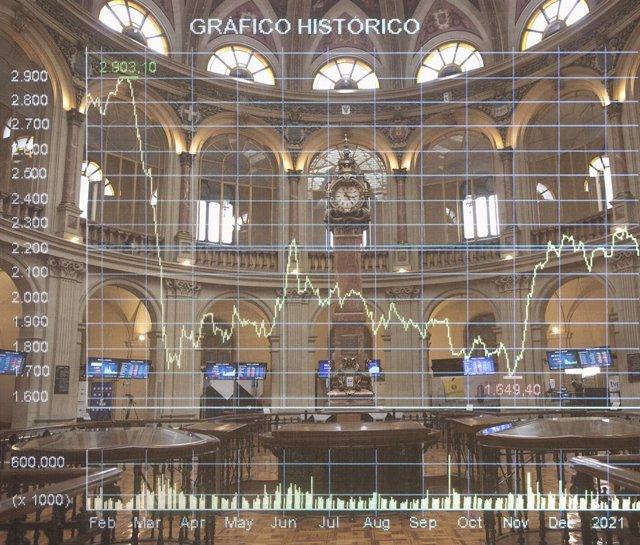 Archivo - Ilustración del Palacio de la Bolsa en Madrid.