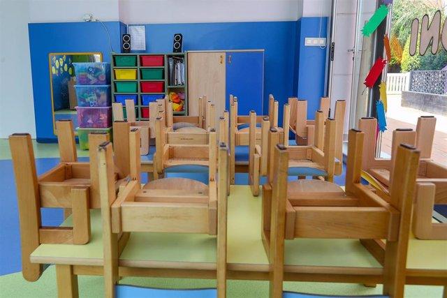 Archivo - Mesas y sillas recogidas en un aula de un Centro de Educación Infantil, foto de recurso