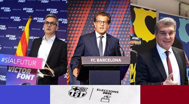 Los tres aspirantes a ser presidente del FC Barcelona en las elecciones del 7 de marzo; Víctor Font, Toni Freixa y Joan Laporta (de izquierda a derecha)