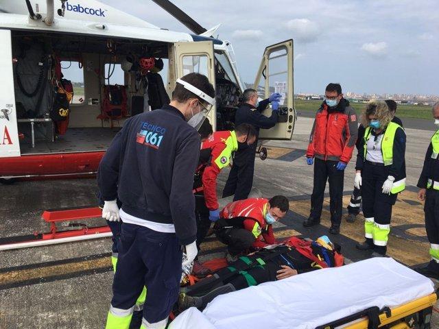 Rescate de un ciclista accidentado