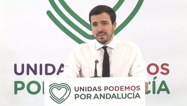 El ministro de Consumo y coordinador general de IU, Alberto Garzón.