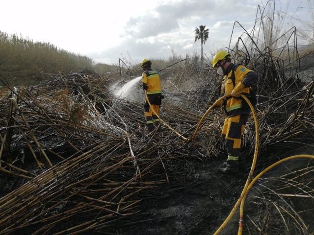 Efectivos trabajando en el incendio forestal declarado en el Torrent de Sant Miquel.