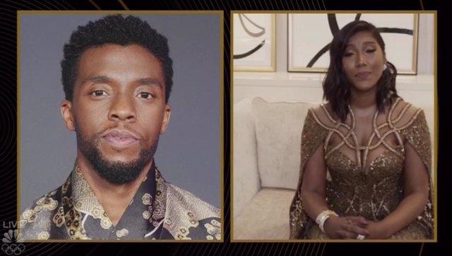 Taylor Simone Ledward, la viuda de Chadwick Boseman agradece el Globo de Oro a mejor actor