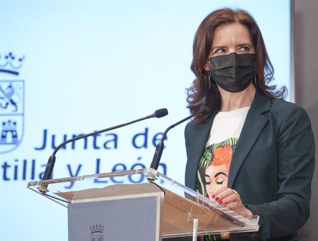 La consejera de Empleo e Industria de Castilla y León, Ana Carlota Amigo, durante la rueda de prensa.