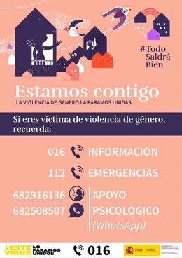 Archivo - Carteles informativos sobre los teléfonos de ayuda a víctimas de violencia machista