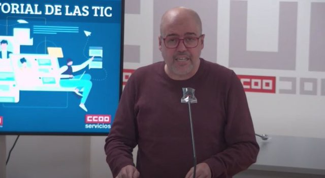 El secretario general de CCOO, Unai Sordo,  en la rueda de prensa de presentación de un informe sobre el sector TIC