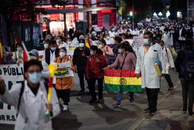 Huelga del sector médico en Bolivia.