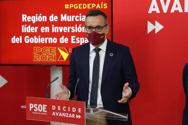 Archivo - El secretario general del PSRM y portavoz del Grupo Parlamentario Socialista, Diego Conesa