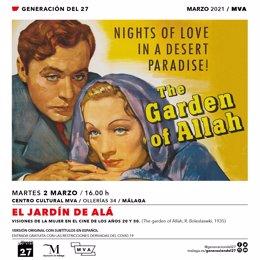Cineclub del 27 retoma su programación en el MVA con la proyección de 'El jardín de Alá', con Marlene Dietrich