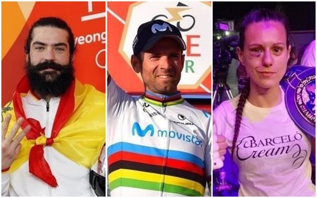 Archivo - Regino Hernández, Alejandro Valverde y Joana Pastrana, Premios Nacionales del Deporte de 2018.