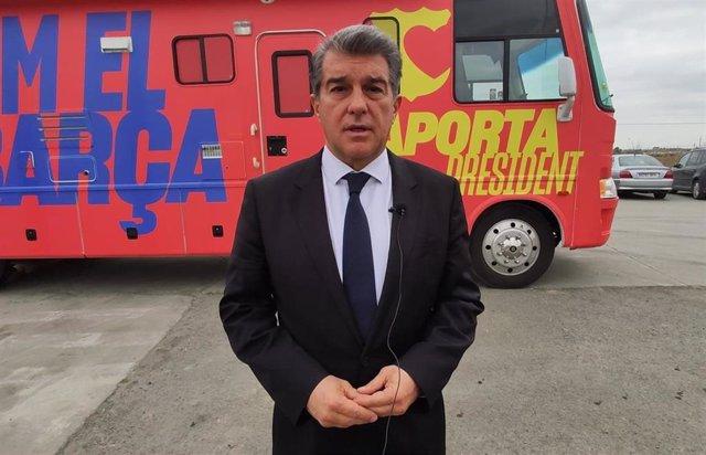 El expresidente del FC Barcelona y candidato a la presidencia en los comicios del 7 de marzo Joan Laporta