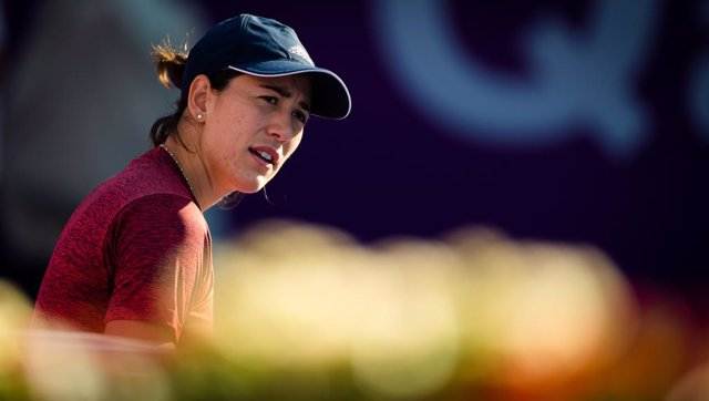 Garbine Muguruza of Spain during practice ahead of the 2021 Qatar Total Open WTA 500 tournament.