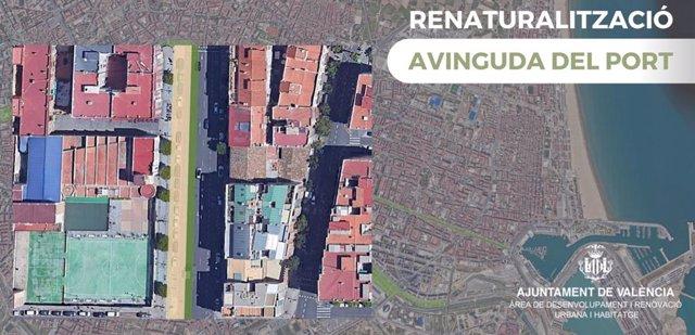 Imagen de la propuesta de renaturalización para la avenida del Puerto de València.