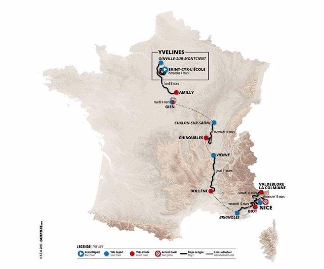 Recorrido de la París-Niza 2021, prueba del calendario WorldTour de la UCI que se disputará entre el 7 y 14 de abril