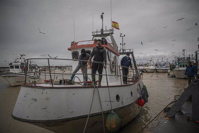 Archivo - Llegada de un barco pesquero de la lonja de la Cofradía de Pescadores de Sanlúcar de Barrameda