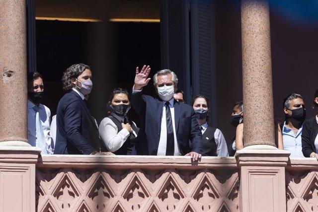 El presidente de Argentina, Alberto Fernández, en la Casa Rosada