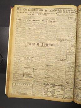 Fotografía de la edición del diario ourensano Arco de agosto de 1939, donde se publica la crónica de la inauguración de un monumento falangista en el municipio ourensano de Celanova
