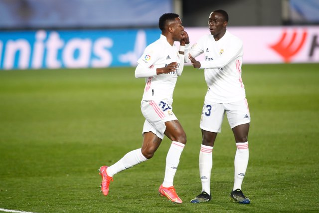 Vinicius Junior of Real Madrid celebrates a goal during the the spanish league, La Liga Santander, football match played between Real Madrid and Real Sociedad at Alfredo Di Stefano stadium on march 01, 2021, in Valdebebas, Madrid, Spain.