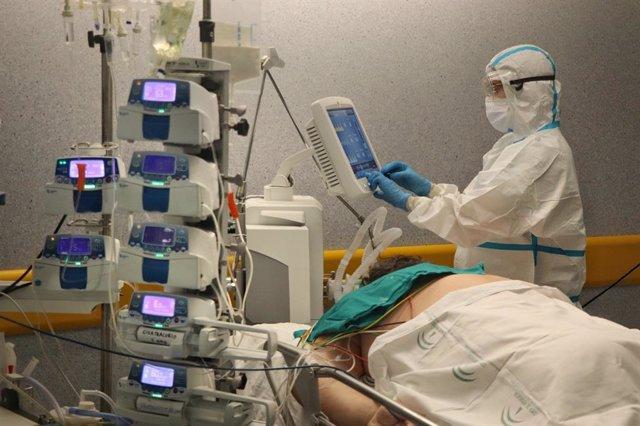 Un paciente con covid en la UCI del Hospital Reina Sofía.