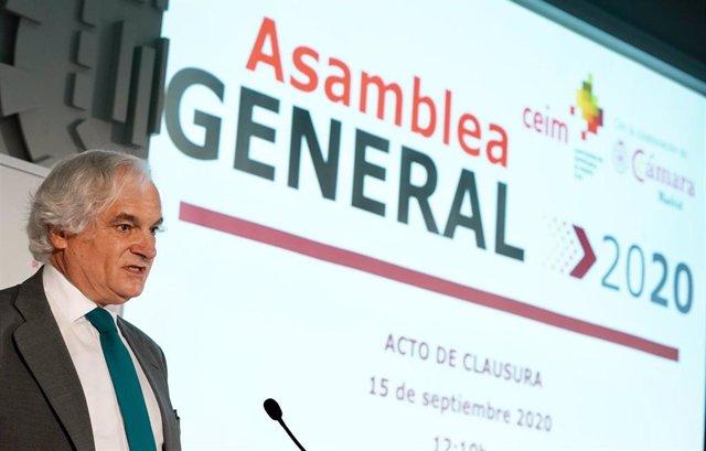 Archivo - El presidente de la Confederación Empresarial de Madrid CEOE (CEIM), Miguel Garrido.