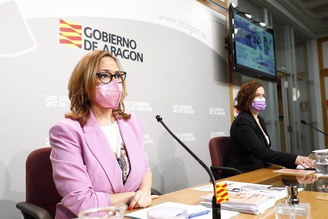 Rueda de prensa de la consejera de Presidencia y Relaciones Institucionales del Gobierno de Aragón, Mayte Pérez, y de la directora del Instituto Aragonés de la Mujer, María Goikoetxea, para presentar los actos del Día Internacional de la Mujer.
