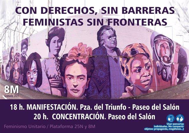 Cartel de la manifestación y concentración del 8M en Granada