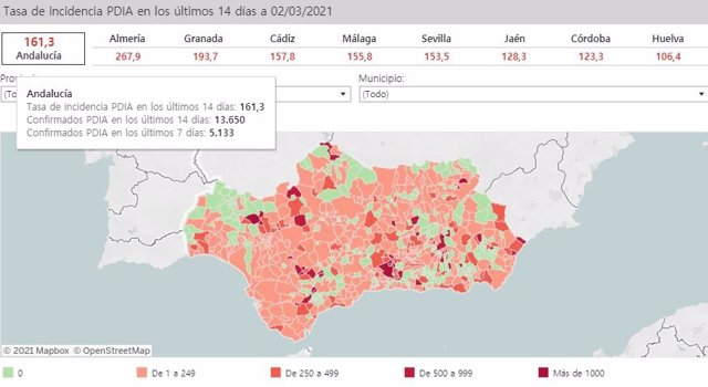 Mapa de Andalucía con incidencia del Covid-19 por municipios a 2 de marzo de 2021