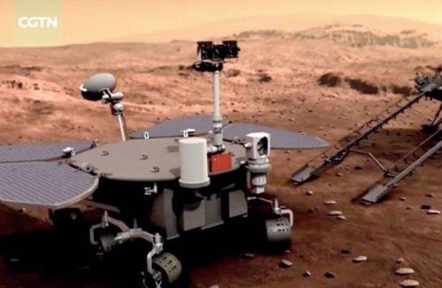 Ilustración artística del rover chino en Marte