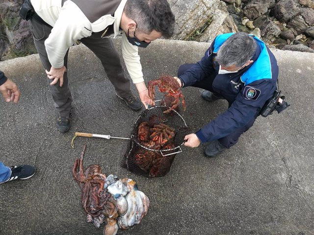 Marisco incautado a un furtivo en Vigo