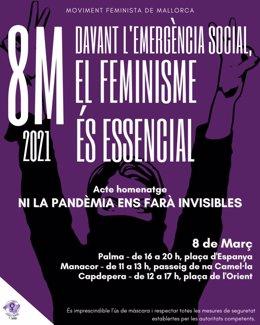Cartel del acto homenaje en Mallorca con motivo del 8M.