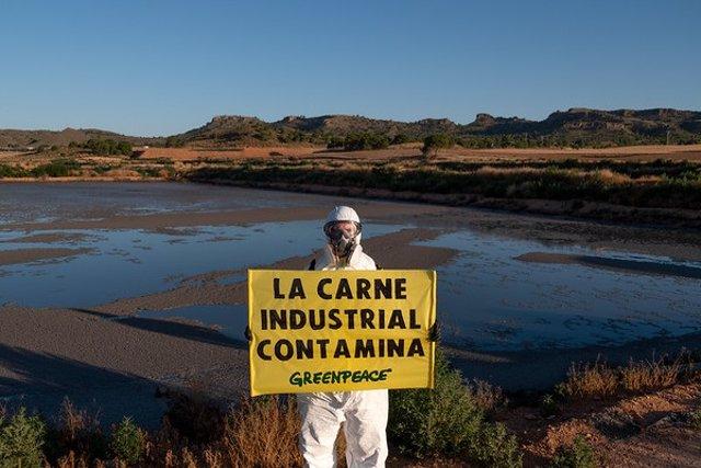 Archivo - Acción de Greenpeace en la macrogranja industrial de Hellín, Albacete, para exigir una moratoria estatal inmediata a la ganadería industrial y la reducción de la cabaña ganadera por su impacto en el cambio climático.