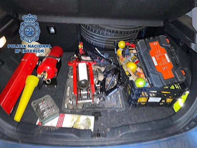 Objetos intervenidos por la Policía Nacional