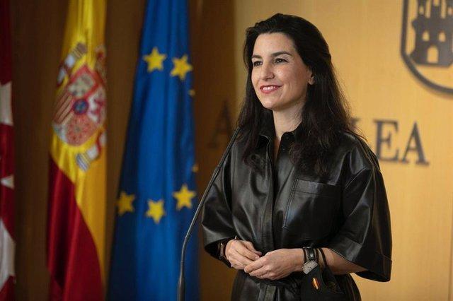 La portavoz de Vox en la Asamblea de Madrid, Rocío Monasterio, durante el Pleno de la Asamblea de Madrid