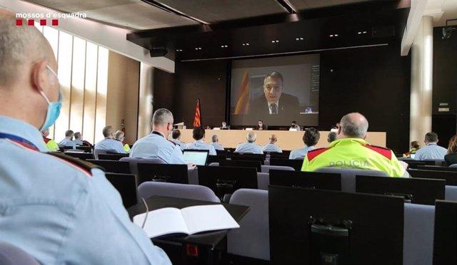 Reunión de mandos de Mossos para analizar los disturbios en Catalunya.