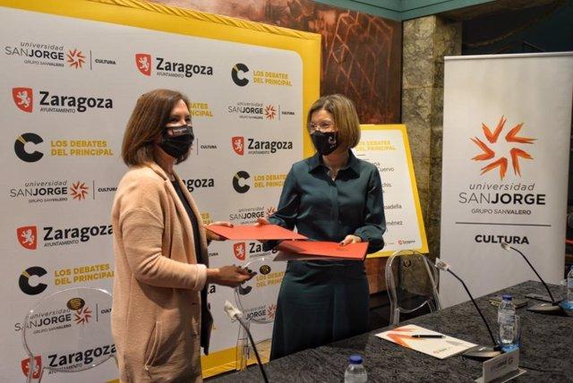 Firma de convenio en materia de artes escénicas, que ha tenido lugar esta mañana entre el Patronato Municipal de las Artes Escénicas y de la Imagen del Ayuntamiento de Zaragoza y la Universidad San Jorge.