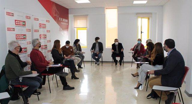 Reunión entre CCOO, PSOE, IU, Podemos y Más País sobre el hospital del Aljarafe