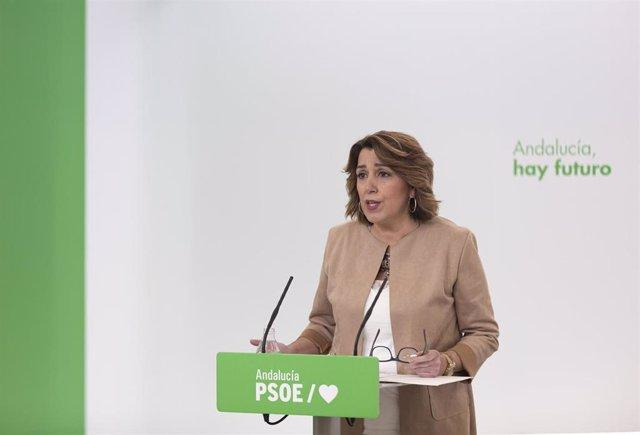 La secretaria general del PSOE-A, Susana Díaz, atiende a los medios de comunicación durante la rueda de prensa convocada hoy, para analizar asuntos de actualidad. En Sevilla (Andalucía, España), a 02 de marzo de 2021.