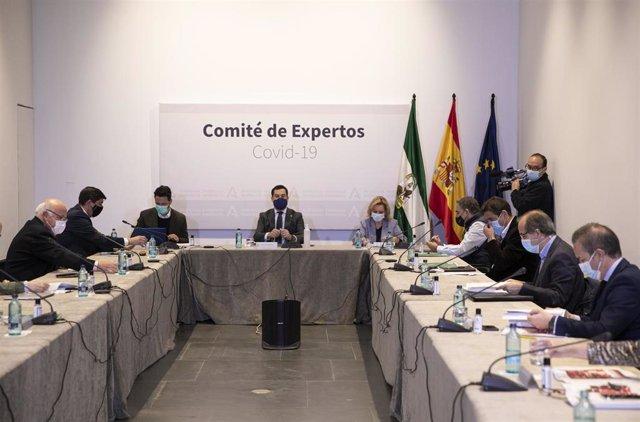 Archivo - El presidente de la Junta de Andalucía, Juanma Moreno (c), preside la reunión del Consejo Asesor de Alertas de Salud Pública de Alto Impacto (Comité de Expertos) el pasado 8 de enero de 2021.