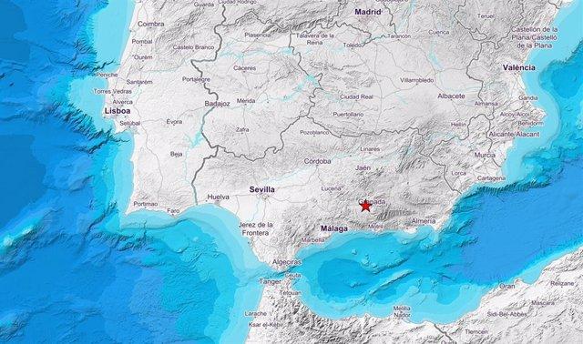 Mapa del sismo de 2,8 en Santa Fe este martes