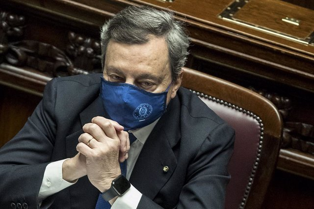 18 February 2021, Italy, Rome: Italy's Prime Minister Mario Draghi attends a confidence vote on his government at the lower Chamber of Deputies. Photo: Lapresse / Roberto Monaldo/LaPresse via ZUMA Press/dpa