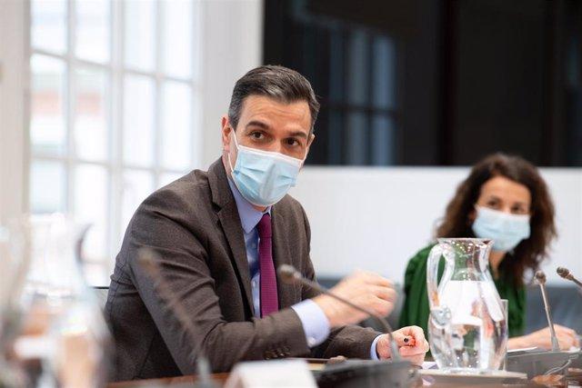 El presidente del Gobierno, Pedro Sánchez, durante la reunión del Comité de Seguimiento del Coronavirus este 1 de marzo de 2021