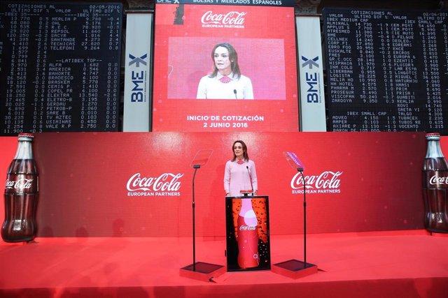 Archivo - Sol Daurella, la presidenta de Coca-Cola European Partners, en la salida a bolsa de la compañía