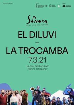 Cartel del concierto de El Diluvi y La Trocamba Matanusca en el Teatre Echegaray de Ontinyent