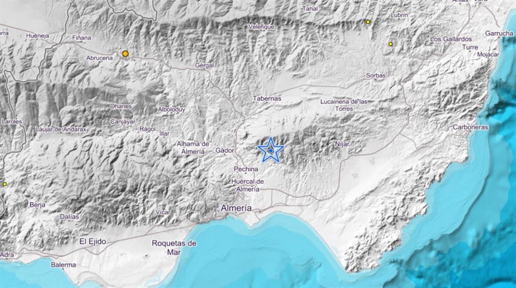 Detectado un terremoto de magnitud 2,9 a unos cinco kilómetros de profundidad en Pechina (Almería)