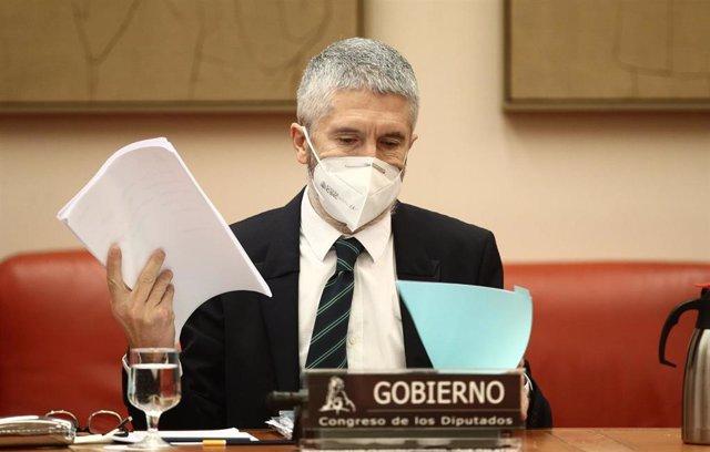 El ministro de Interior, Fernando Grande-Marlaska, durante una Comisión de Interior celebrada en la Sala Constitucional del Congreso de los Diputados, en Madrid, (España), a 19 de febrero de 2021.
