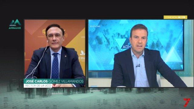 Entrevista en 7TV al rector de la UCO y presidente de la CRUE, José Carlos Gómez Villamandos