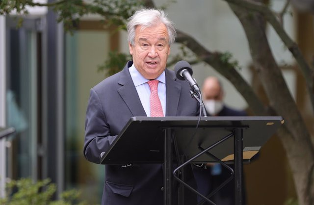 Archivo - 17 September 2020, US, New York: United Nations Secretary General Antonio Guterres speaks during the 2020 Peace Bell Ceremony, held in observance of the International Day of Peace at the UN Headquarters in New York. Photo: Luiz Rampelotto/ZUMA W