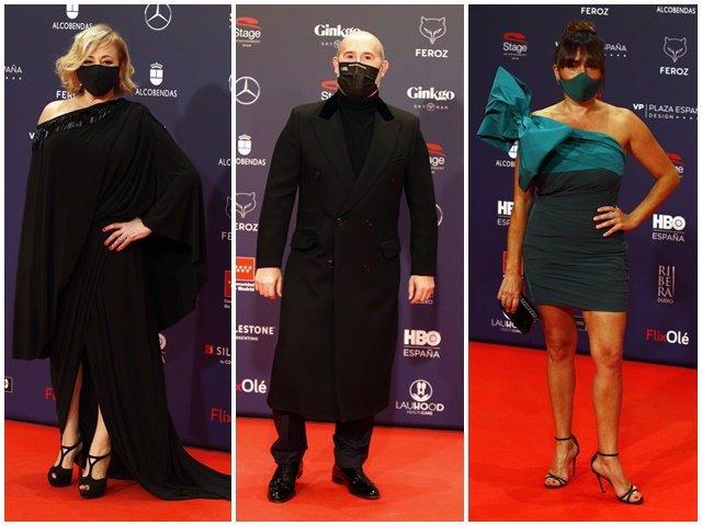 Carmen Machi, Javier Cámara y Candela Peña, en la alfombra roja de los Premios Feroz